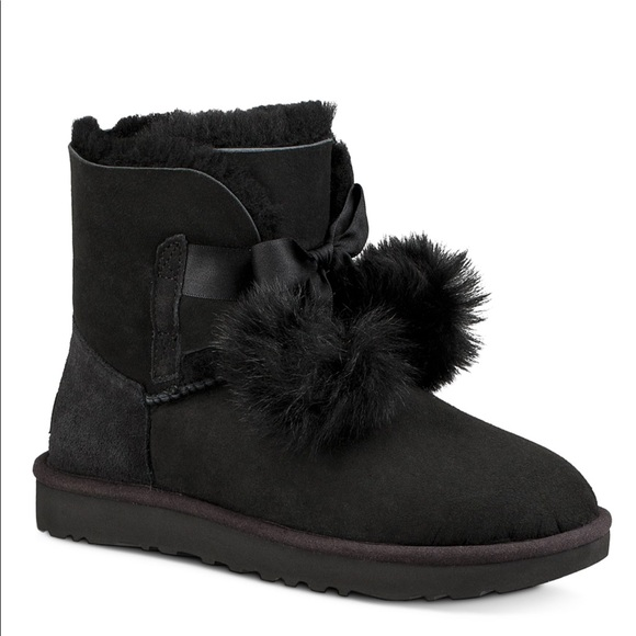 Authentic Ugg Boots Black With Pom Poms